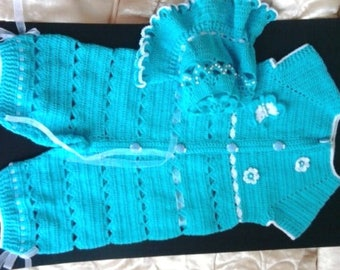 Knitted kit for the baby.Overalls and Panama
