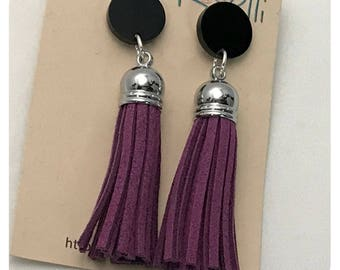 Purple Faux Suede Tassel Earrings