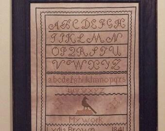 Primitive cross stitch, sampler chart/pattern,primitive needlework, schoolgirl sampler, early American, Lydia Brown