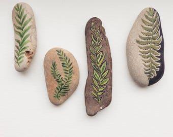 Decortive hand painted sticks and stones /// botanical art /// Minimalist tribal art