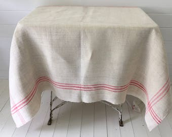 NCT1301 Pinky-Red Stripe Vintage Linen Tablecloth