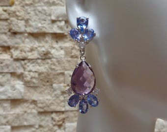 Tanzanite, Amethyst and CZ earrings in Sterling Silver