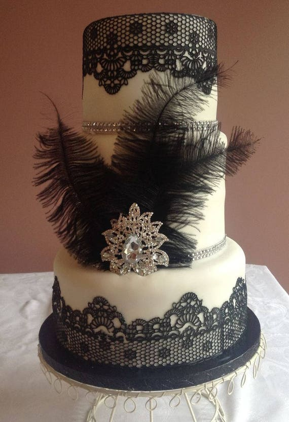 BLACK Edible Sugar Cake Lace Ready To Use Strips Black Wedding Decor Gatsby Goth Party Burlesque 30 Birthday 40