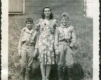 Boy Scout with One Hand Vintage Photo, 1940's Original Found Photo, Vernacular Photography