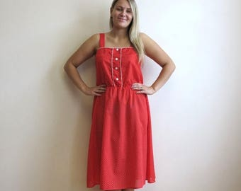 ON SALE Hot Red Cotton Dress Red White Polka Dot Print Midi Dress Straps Summer Dress Large Size