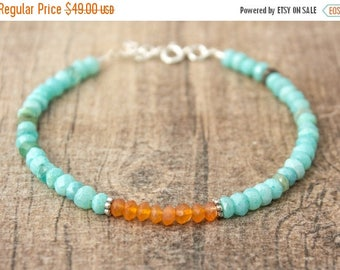 Close Out Sale Sterling Silver Blue Opal & Carnelian Gemstone Bracelet