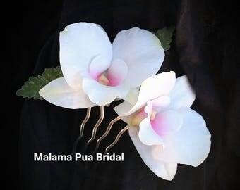 Tropical Wedding Hair comb, Custom Hairpiece, floral hair accessory, Bridal, real touch orchids, Beach, hair flower, Hawaiian flower clip