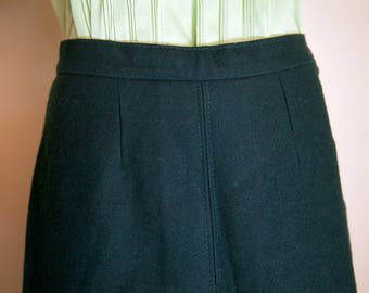 1940s forest green wool A line skirt