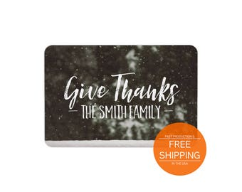 Personalized gift, family last name floormat, give thanks, holidays housewarming gift, thanksgiving welcome floor mat