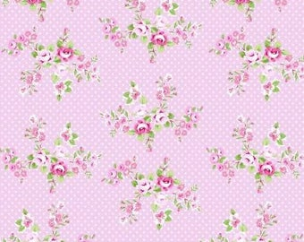 Shabby chic fabric Pink roses on pink fabric Cabbage rose fabric Tanya Whelan Charlotte CollectionFree Domestic Ship over 50