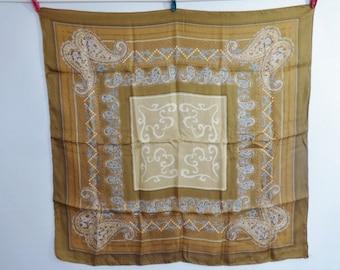 "Vintage Silk Paisley scarf 75cm x 79cm / 29.5"" x 31.1"" hand rolled"
