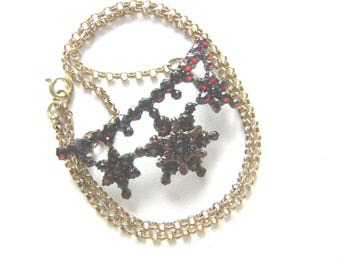 BOHEMIAN GARNET NECKLACE Antique Bohemian Garnet Necklace. 1900s Bohemian Garnet Pendant Victorian Bohemian Garnet Necklace.