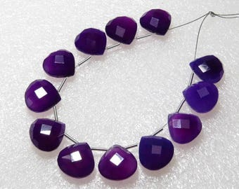 Chalcedony Amethyst Purple Color Faceted - 6 Matching Pairs - Heart Shape - size 12x12 mm