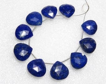 Lapis Lazuli - Faceted - 5 Matching Pairs - Heart Shape - size 14x14 mm