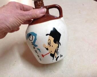 Vintage pottery Ozark's jug corncob stopper Mo Mule Howdy Folks Souvenir jug, hillbilly souvenir jug, Ozark's pottery jug, Souvenir, Mo Mule
