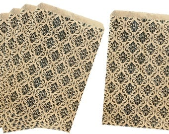 Kraft brown and Black Damask Paper Sacks,Party Accessory, Treat Bag, Favor Sack, Gift Bag, Retail Bags, Paper Supplies