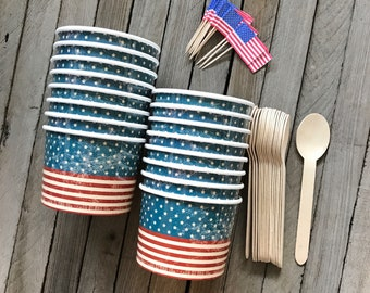 Patriotic Ice Cream cups, July 4th Treat Cups, Summer Ice Cream Party, Ice Cream Kit for 16