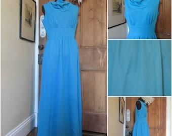 70s Blue Nylon Maxi Dress 38 Inch Bust