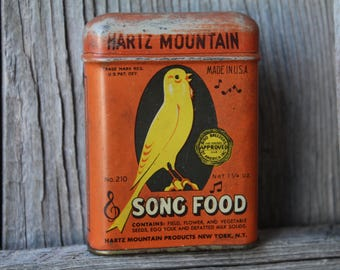 Hartz Mountain Song Bird Food Tin with Canary Graphics