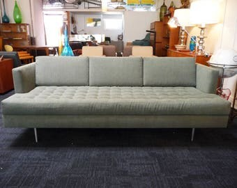 Mid Century Style Sofa w/ Tufting and Chrome Legs