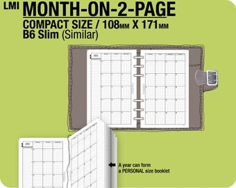 MO2P October 2017 to December 2018 / FC compact / B6 slim month-on-2-page MON - Filofax Inserts Refills Printable Binder Planner.