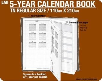 TN regular 5-year Calendar Book / 2018 2019 2020 2021 2022 - Inserts Refills Filofax Binder Collins