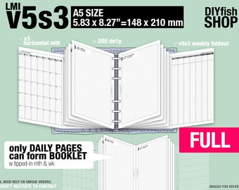 FULL [A5 v5s3 w DS5 do1p] January to December 2018 - DIYfish Filofax Inserts Refills Printable Binder Planner Midori.