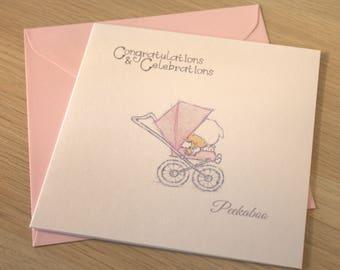 "Congratulations Baby Girl Card 6"" x 6"""