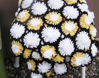 Vintage Crocheted Floral Afghan or Throw 3D Retro Yellow and White Flowers with Brown Between Flowers Floral Raised Flowers Hand Made Wrap