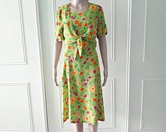 Bianca dress 1980's vintage dress 80's dress knee length dress floral print dress summer dress ladies dress short sleeved bolero size 14