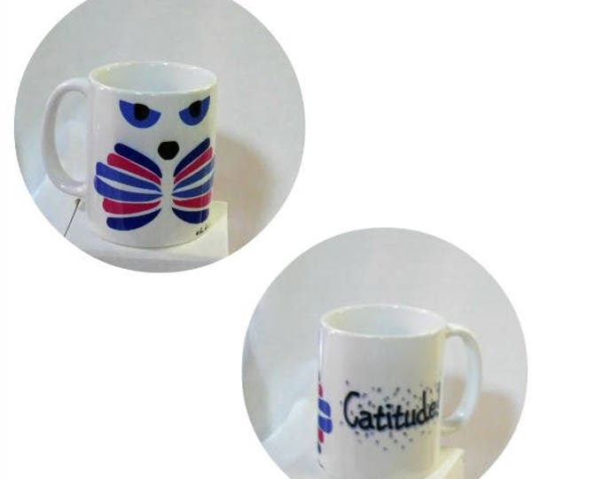 """CAT LOVER Mug Gift; 10 oz white ceramic mug created by Pam Ponsart with front and back design titled """"Catitude"""""""