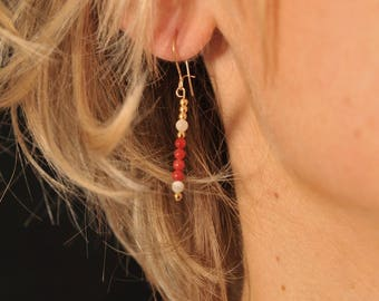 Earrings plated gold coral and mother of Pearl