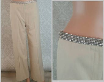 SPIEGAL Rhinestone Waist Khaki Pants Size 6 Vintage 1990s I 1990s Fashions I Ladies Womens Career Casual Slacks I Summer Wide Leg Pants