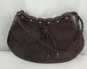 Purple Embossed  70's Shoulder Bag