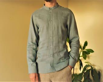 Greenish gray men's linen shirt.