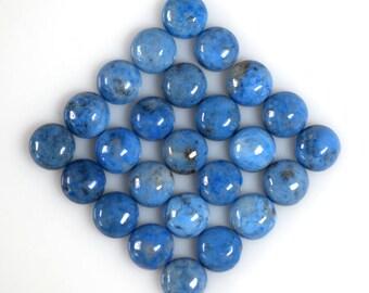 Natural Denim Lapis Lazuli 8mm Round Cabochons Twelve Piece Lot