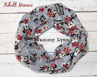 Adult Minnie Mouse On Gray Infinity Scarf Women's Accessories