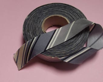 52 meters polyester SATIN Ribbon banded grey diagonal stripes of 25mm wide for craft and sewing