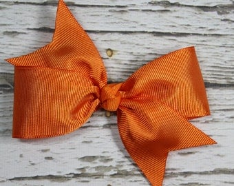 NEW Solid Orange Grosgrain Ribbon Basic Boutique Hair Bow on Lined Alligator Clip