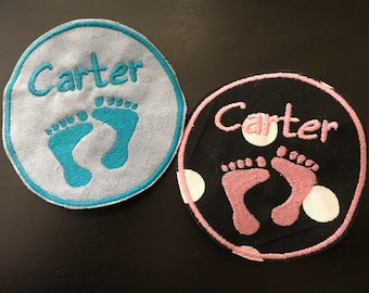 Baby feet Patch - Iron on Patch - Sew on Embroidery Patch - Custom Patches