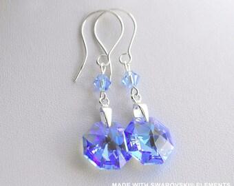 SWAROVSKI Crystal Sapphire Octagon earrings / 925 sterling silver