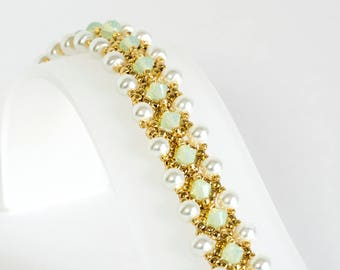 Crystal Bracelet with Chrysolite Opal Crystals, White Glass Pearls and Gold Seed Beads - Beadwoven Bracelet - Seed Bead Jewelry