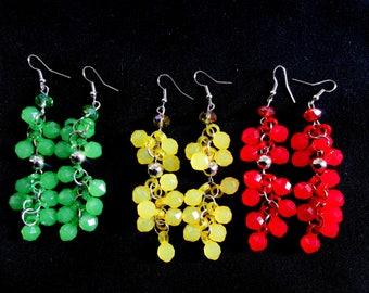 3 x red, green, yellow bead bunch tear drop cherries grapes cluster long dangle summer garden earrings