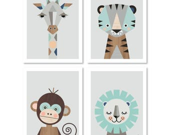 "Safari prints, Series of Four in mint, A4 or 8x10"" size. Nursery prints, nursery art, kids art, nursery decor, playroom art, animal prints."
