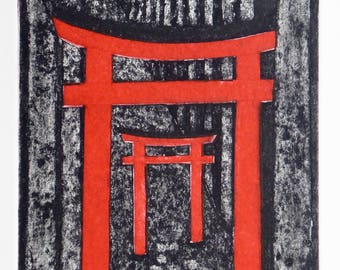 Forest Shrine - torii gate, temple, pray, worship, red, woods, trees,