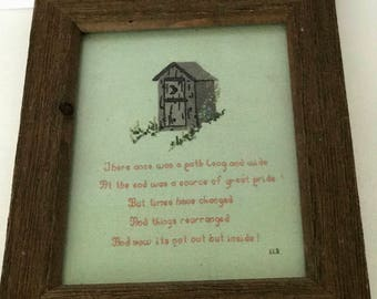 Crocheted Outhouse Picture Primitive Farmhouse handmade
