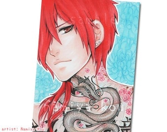ACEO ATC Print, Manga Drawing, Handsome Japanese Boy, Irezumi Dragon Tattoo, Anime Man, Bishie Manga, Asian Tattoo Illustration, Punk