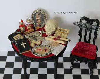 Dollhouse Miniature Gothic Vampire Hunter Slayer  Table  and Gothic chair in 1:12 scale
