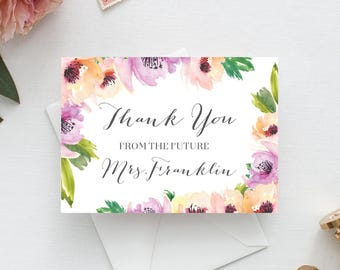 Bridal Shower Thank You Cards - Folded Thank You Cards - Custom Thank You Cards - Wedding Shower - From The Future Mrs. - Free Shipping