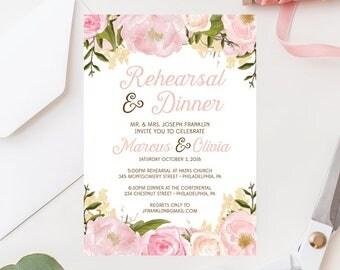 Rehearsal Dinner Invitation - Rehearsal Dinner Invite - Rehearsal Invitation - Wedding Rehearsal - Pink Floral Wedding Rehearsal Invite